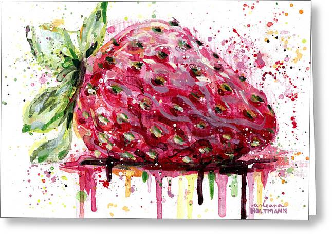 Strawberry Paintings Greeting Cards - Strawberry 1 Greeting Card by Arleana Holtzmann