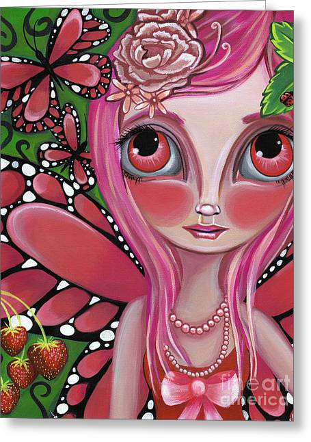 Quirky Greeting Cards - Strawberry Butterfly Fairy Greeting Card by Jaz Higgins
