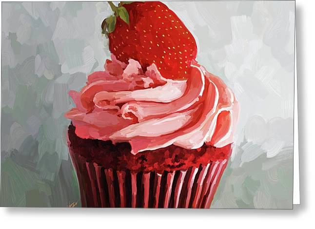 Reception Paintings Greeting Cards - Strawberry Cupcake Greeting Card by Jai Johnson