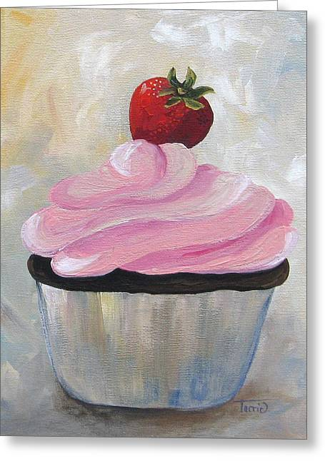 Strawberry Cupcake Greeting Cards - Strawberry Cupcake  Greeting Card by Torrie Smiley