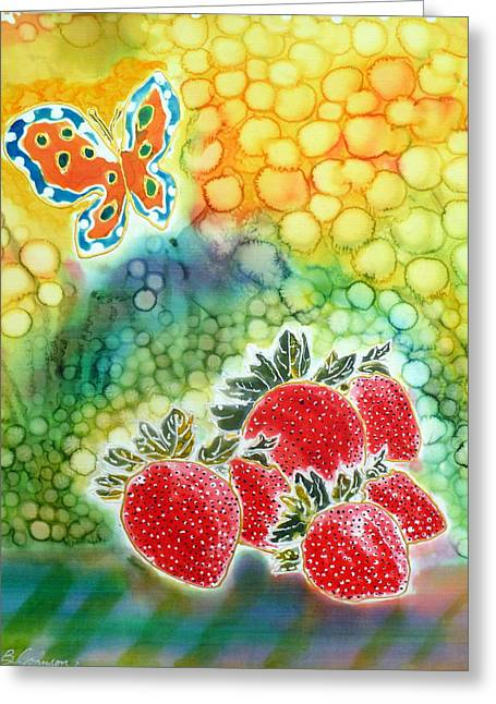 Strawberry Tapestries - Textiles Greeting Cards - Strawberry Garden Greeting Card by Beverly Johnson