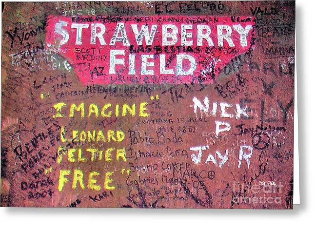 Starkey Greeting Cards - Strawberry Graffiti Greeting Card by Geoff Sadler Designs