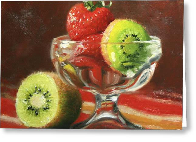 Strawberries Greeting Cards - Strawberry Kiwi Greeting Card by Anna Bain