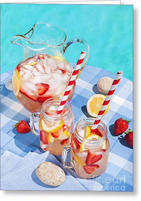 Water Jug Greeting Cards - Strawberry lemonade Greeting Card by Elena Elisseeva