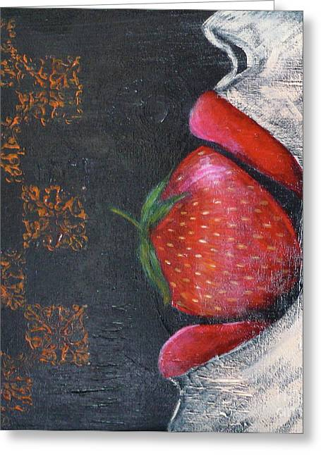 Strawberry Love Greeting Card by Monika Shepherdson