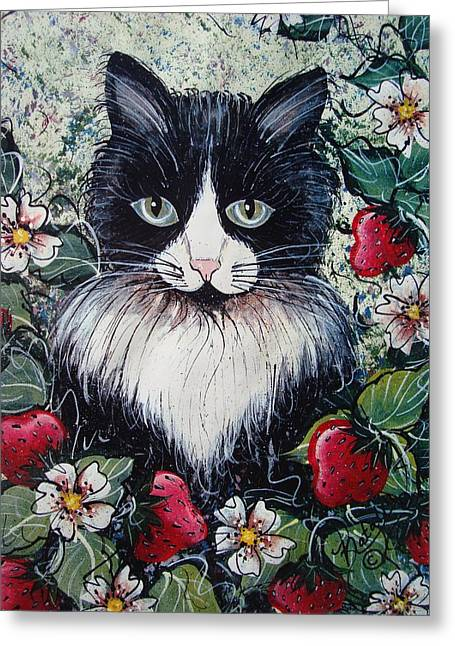 Patch Greeting Cards - Strawberry Lover Cat Greeting Card by Natalie Holland