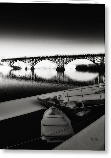 Row Boat Greeting Cards - Strawberry Mansion Bridge in Winter Greeting Card by Bill Cannon