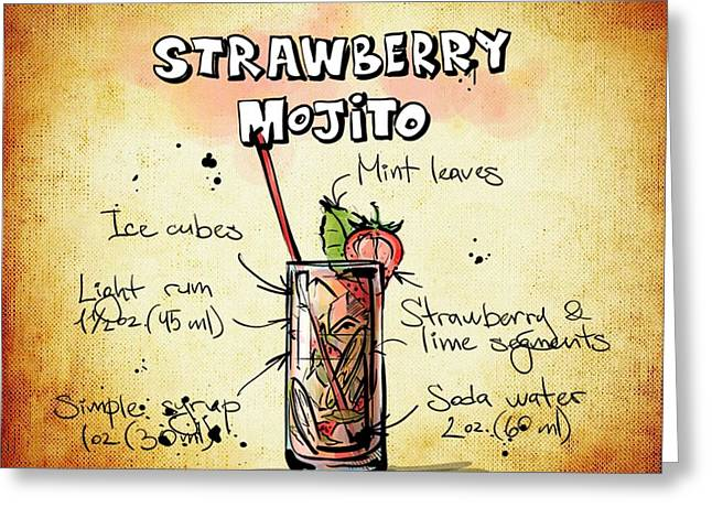 Bartender Drawings Greeting Cards - Strawberry Mojito Recipe Greeting Card by Alexas Fotos