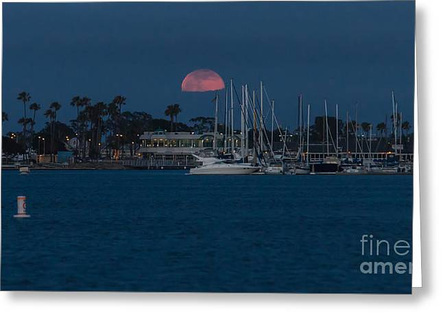 Moonrise Greeting Cards - Strawberry Moonrise Greeting Card by Greg  Sabo