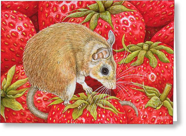 Red Leaves Greeting Cards - Strawberry Mouse Greeting Card by Ditz