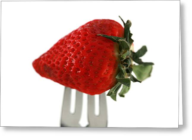 Michael Sweet Greeting Cards - Strawberry On A Fork Greeting Card by Michael Ledray