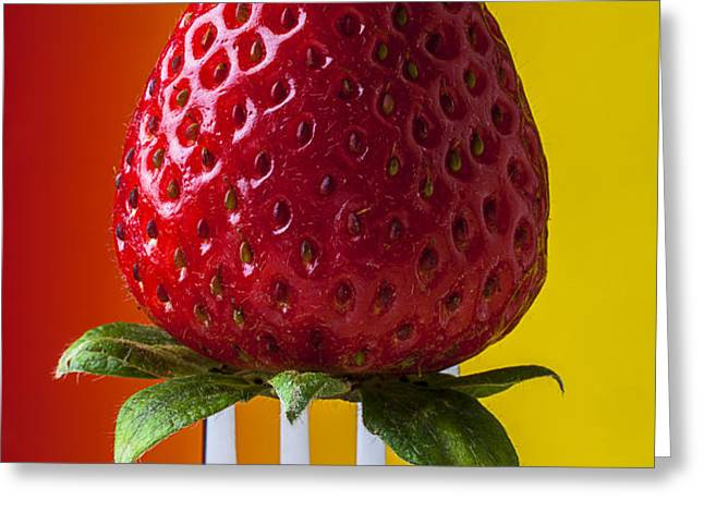 Strawberry On Fork Greeting Card by Garry Gay