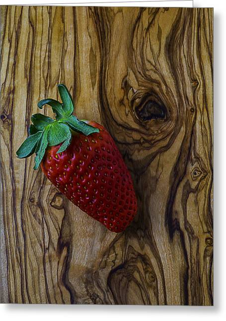 Sweetness Greeting Cards - Strawberry On Wood Grain Board Greeting Card by Garry Gay
