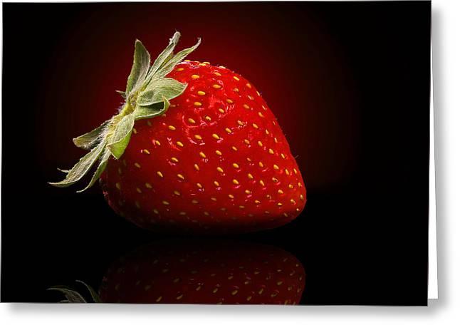 Strawberry Art Greeting Cards - Strawberry Sensuality Greeting Card by Georgiana Romanovna