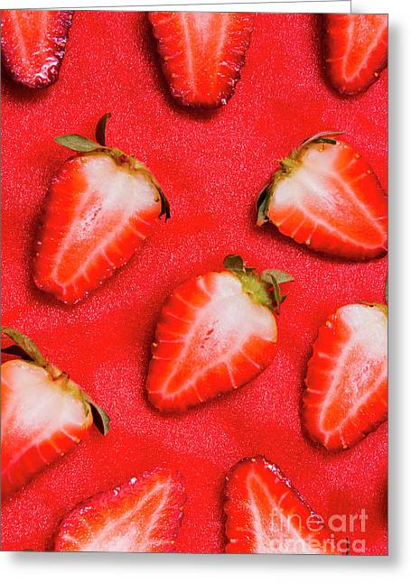 Strawberry Slice Food Still Life Greeting Card by Jorgo Photography - Wall Art Gallery
