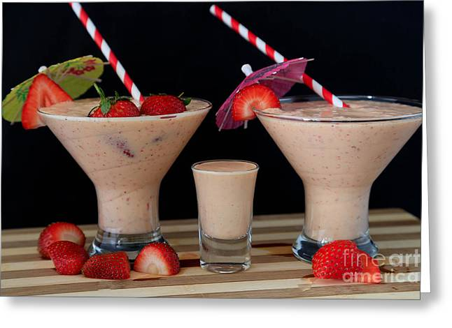 Strawberry Smoothies Greeting Card by Tracy Hall