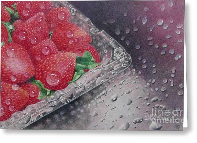 Strawberry Splash Greeting Card by Pamela Clements