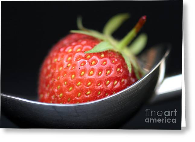 Strawberries Greeting Cards - Strawberry Spoon Greeting Card by Tim Gainey