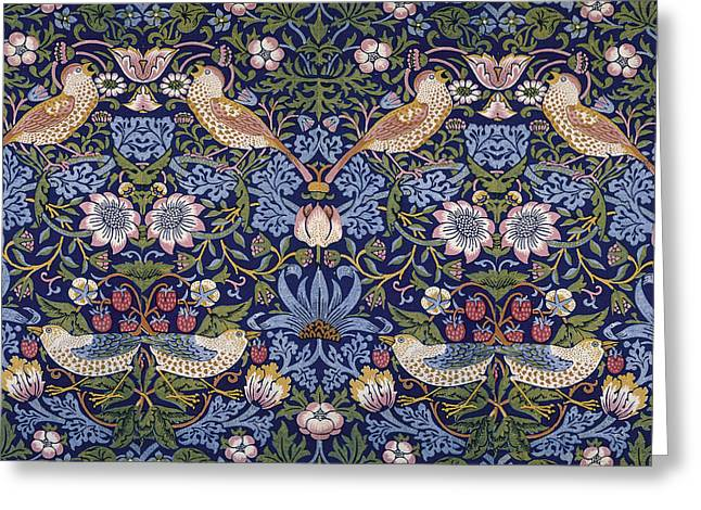 Wallpaper Tapestries Textiles Greeting Cards - Strawberry Thief Greeting Card by William Morris