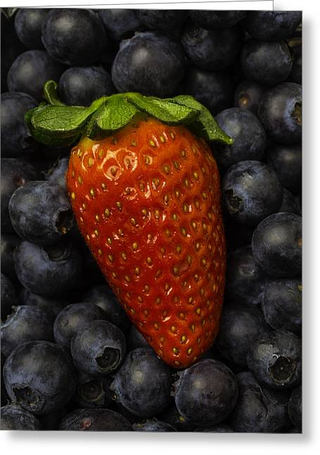 Sweetness Greeting Cards - Strawberry With Blueberries Greeting Card by Garry Gay