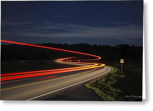 Streaking At Night Highway 15 Greene County Georgia Greeting Card by Reid Callaway