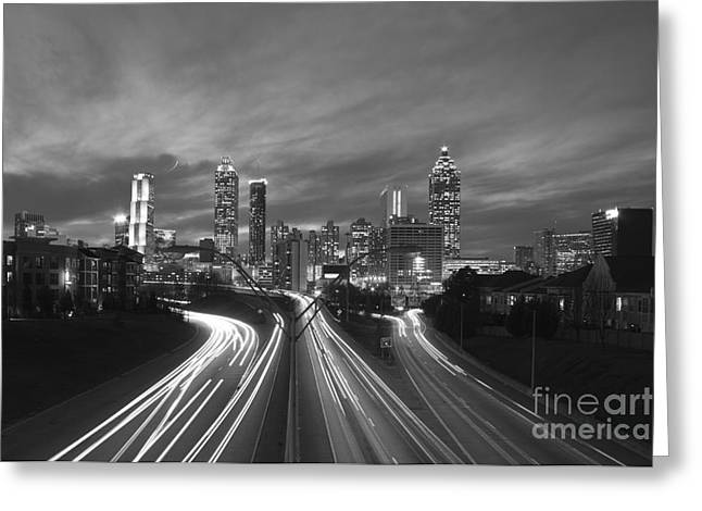 Grady Greeting Cards - Streaking To and From Atlanta Night Lights Sunset 2 Greeting Card by Reid Callaway
