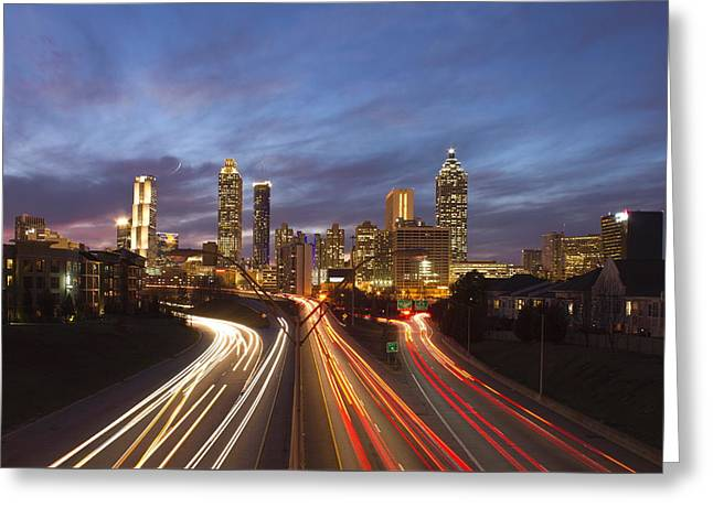 Grady Greeting Cards - Streaking To and From Atlanta Night Lights Sunset Greeting Card by Reid Callaway