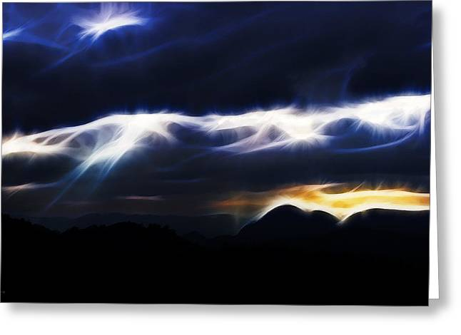 Stream Digital Art Greeting Cards - Streaks of Divine Light Greeting Card by James Toole