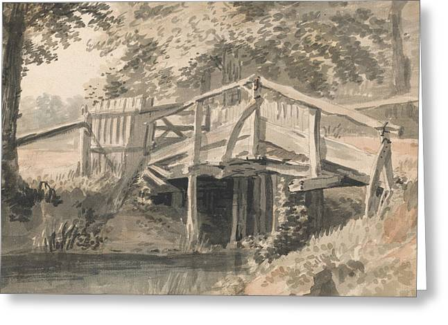 Stream And Wooden Bridge Greeting Card by Paul Sandby