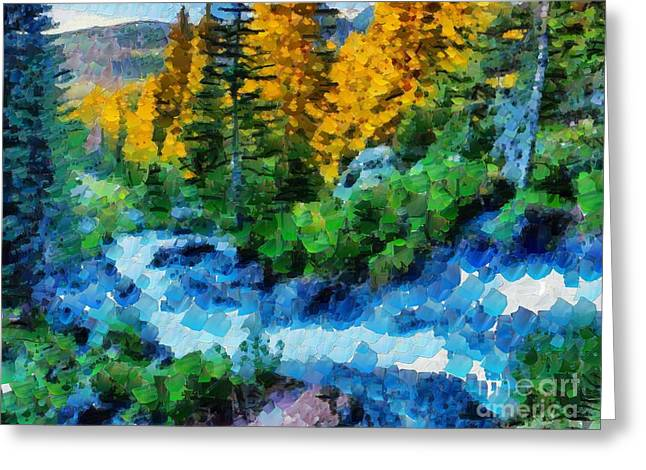 Print On Canvas Greeting Cards - Stream In Tiny Bubbles Greeting Card by Catherine Lott