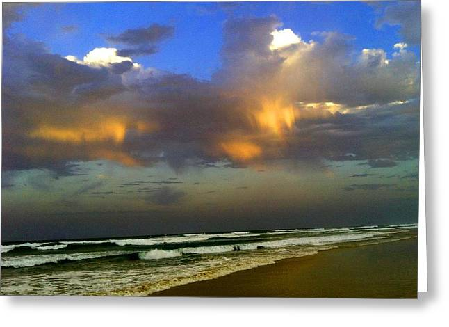 Abstract Digital Paintings Greeting Cards - Streched Beach and Rainbow Clouds H B Greeting Card by Gert J Rheeders