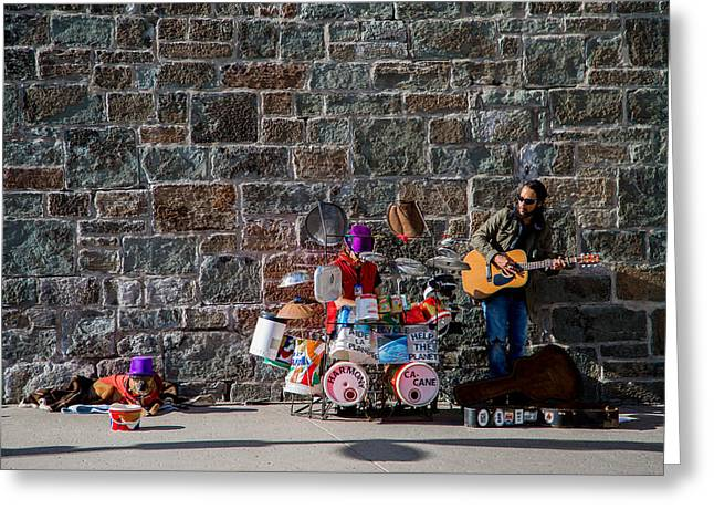 Street Pyrography Greeting Cards - Street Band Greeting Card by Olga Photography