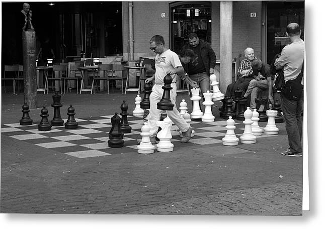 Chess Player Greeting Cards - Street Chess Greeting Card by Aidan Moran