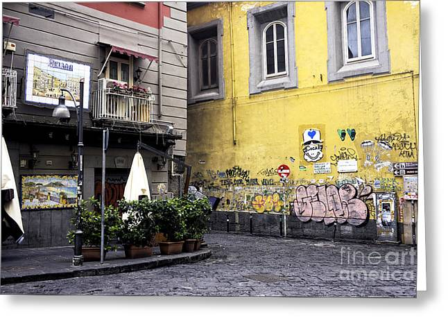Empty Street Greeting Cards - Street Colors in Napoli Greeting Card by John Rizzuto