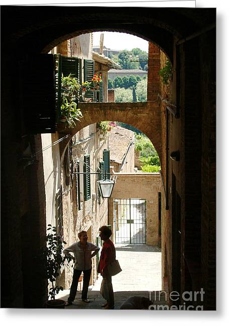 Sienna Greeting Cards - Street Conversation In Sienna Greeting Card by Georgia Sheron