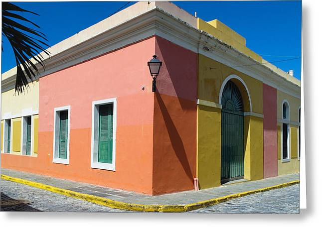 Caribbean Corner Greeting Cards - Street Corner in Old San Juan Greeting Card by George Oze