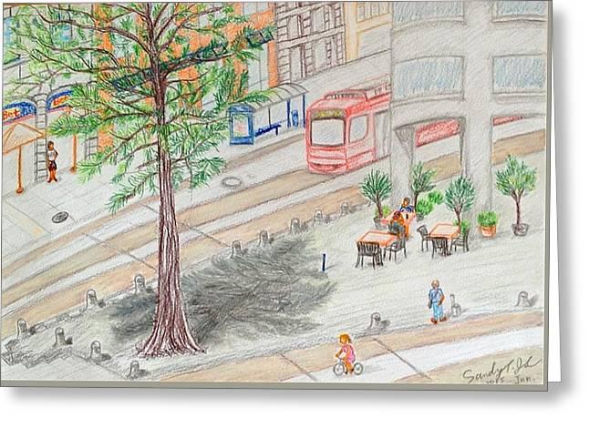 Street Corner Of Munich Greeting Card by Jo lan Tao