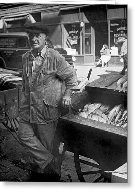 Fish Cart Greeting Cards - Street Fish Vendor Greeting Card by Underwood Archives