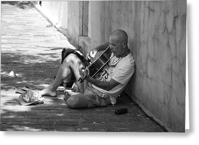 Street Guitar Greeting Card by Kendall Tabor