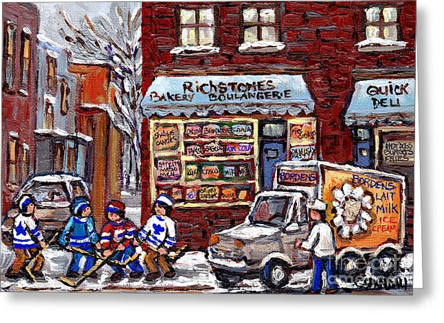 Hockey Paintings Greeting Cards - Street Hockey And Bordens Milk Man At Richstone Bakery And Quick Deli Montreal Memories Painting   Greeting Card by Carole Spandau