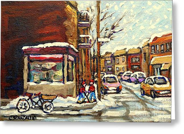Verdun Restaurants Greeting Cards - Street Hockey Corner Verdun Depanneur Urban Winter Paintings Best Authentic Original Montreal Art  Greeting Card by Carole Spandau