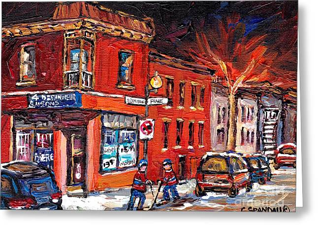 Hockey Scenes Greeting Cards - Street Hockey Night Scene Painting 4 Saisons Depanneur Rue St Dominique And Pine Montreal Scene Art Greeting Card by Carole Spandau