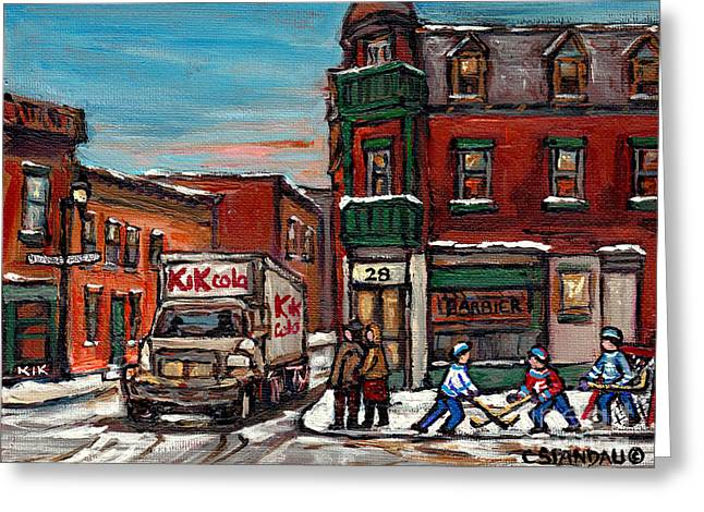 Hockey Paintings Greeting Cards - Street Hockey Painting Kik Cola Truck St Dominique And Pine Barber Shop Best Canadian Original Art   Greeting Card by Carole Spandau