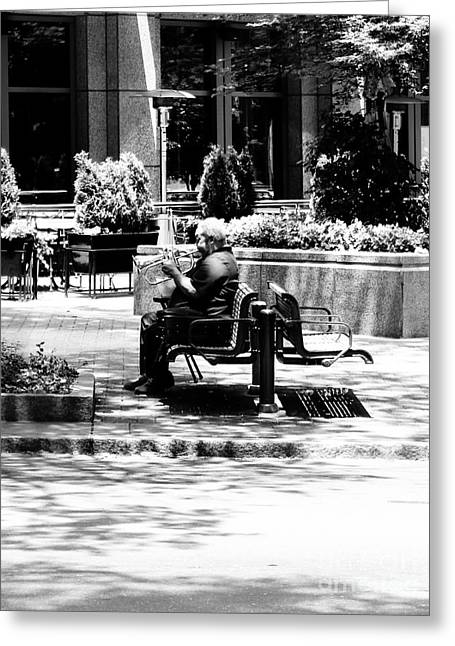 Charlotte Greeting Cards - Street Horn Musician Greeting Card by Robert Yaeger