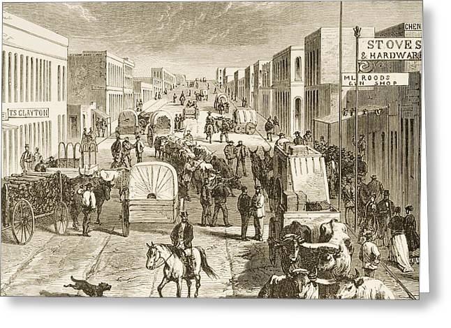 Traffic Drawings Greeting Cards - Street In Denver Colorado In 1870s Greeting Card by Ken Welsh