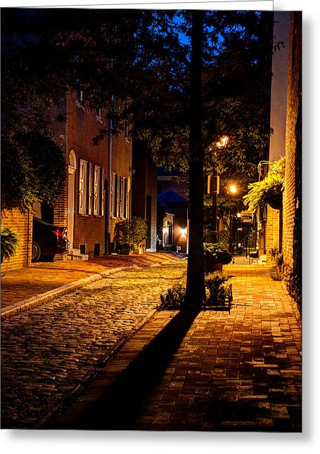American Independance Photographs Greeting Cards - Street in Olde Town Philadelphia Greeting Card by Mark Dodd