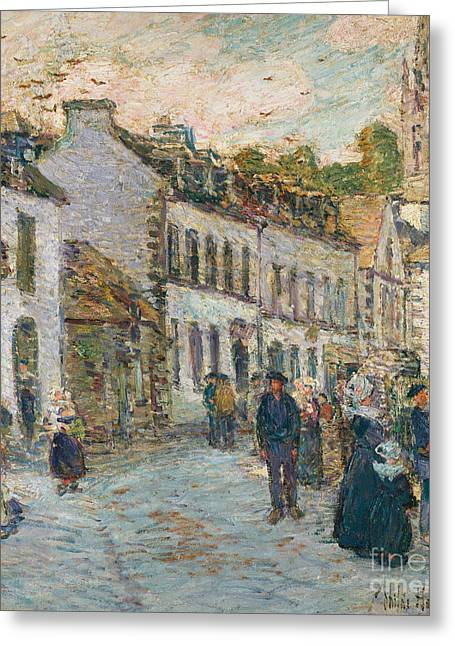 Market Square Greeting Cards - Street in Pont Aven Greeting Card by Childe Hassam