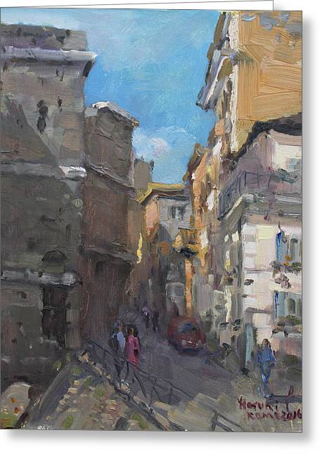 Street In Rome Greeting Card by Ylli Haruni