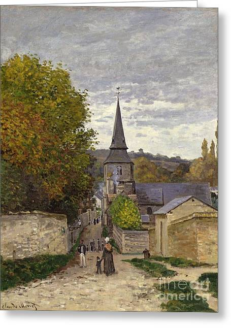 Holding Paintings Greeting Cards - Street in Sainte Adresse Greeting Card by Claude Monet