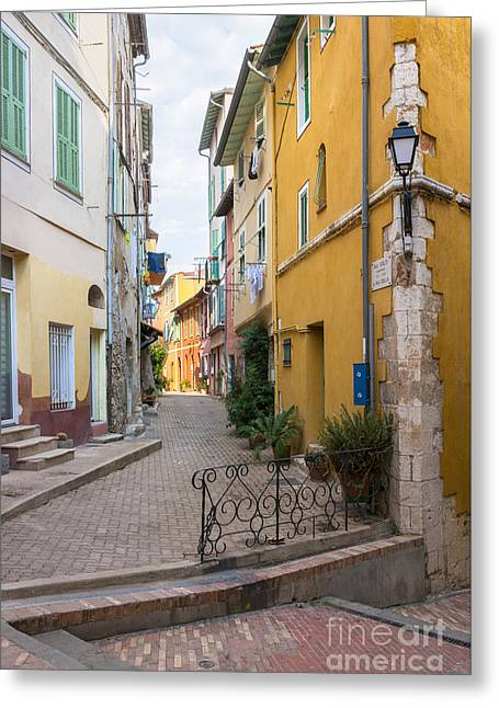 Southern Europe Greeting Cards - Street intersection in Villefranche-sur-Mer Greeting Card by Elena Elisseeva